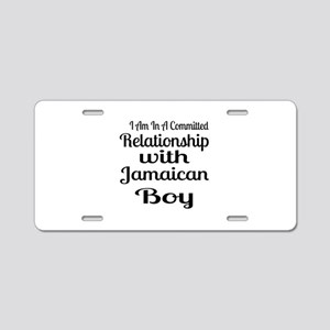 I Am In Relationship With J Aluminum License Plate
