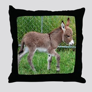 Miniature Donkey Foal Throw Pillow