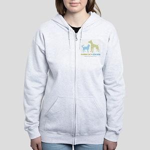10010_KarmaCat_ZenDog_Logo Women's Zip Hoodie