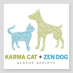 "10010_KarmaCat_ZenDog_Lo Square Car Magnet 3"" x 3"""
