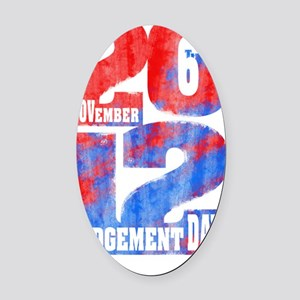 Judgement Day Square White Oval Car Magnet