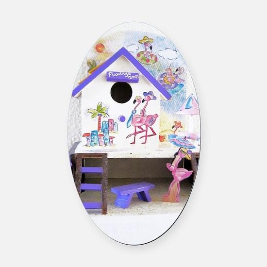 Flamingo Inn Oval Car Magnet
