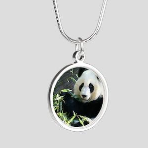 panda2 - Copy Silver Round Necklace