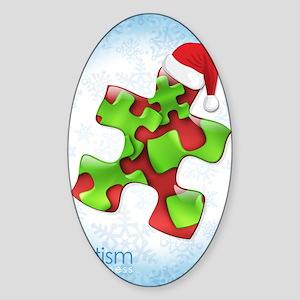 autism-xmas-card1rg Sticker (Oval)