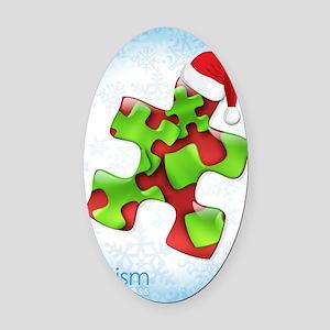 autism-xmas-card1rg Oval Car Magnet