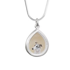 Whippet Silver Teardrop Necklace