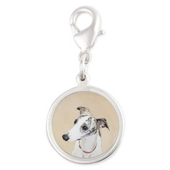 Whippet Silver Round Charm