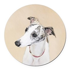 Whippet Round Car Magnet