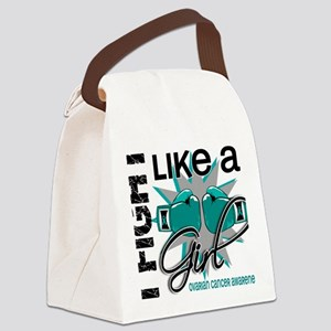Fight Like A Girl Ovarian Cancer  Canvas Lunch Bag