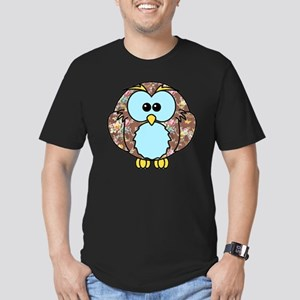 brownfloralowl Men's Fitted T-Shirt (dark)