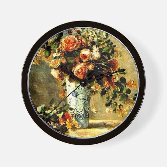 Renoir: Roses and Jasmine in a Delft Va Wall Clock