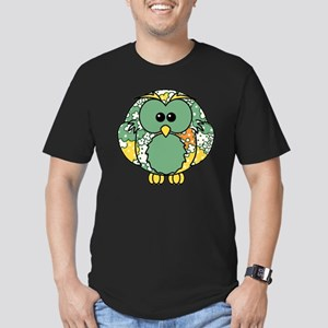 green floral owl Men's Fitted T-Shirt (dark)