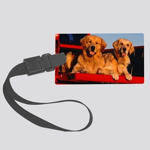 Golden PU post Large Luggage Tag