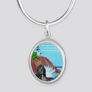 landseer and lighthouse Silver Oval Necklace