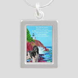 landseer and lighthouse Silver Portrait Necklace