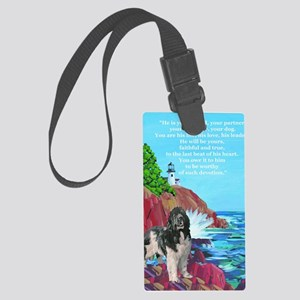 landseer and lighthouse Large Luggage Tag