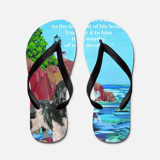 landseer and lighthouse Flip Flops