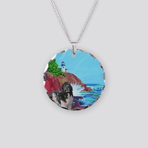 landseer and lighthouse blan Necklace Circle Charm
