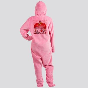 twilight red heart christmas tree s Footed Pajamas
