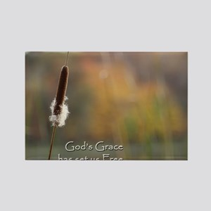 Gods Grace Cattail Rectangle Magnet