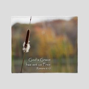 Gods Grace Cattail Throw Blanket