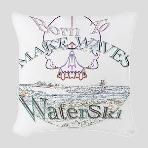 Water ski Woven Throw Pillow