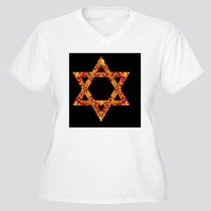 Holiday Gold Leaf Women's Plus Size V-Neck T-Shirt