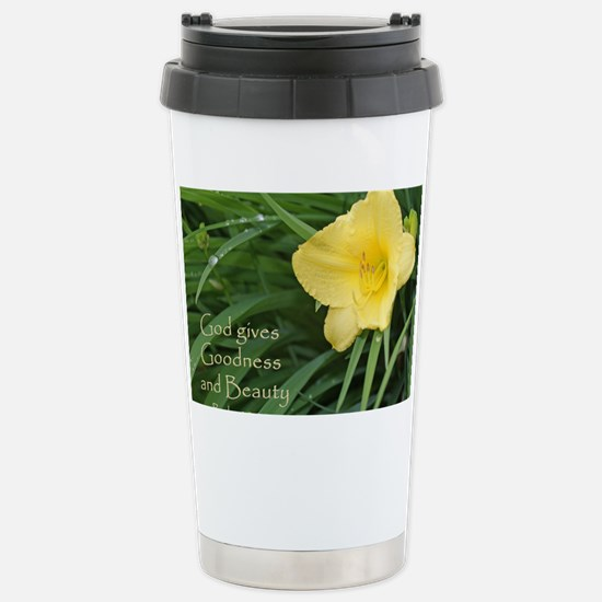 Lily with Water Drops Stainless Steel Travel Mug