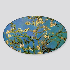 van gogh blossoming almond tree Sticker (Oval)