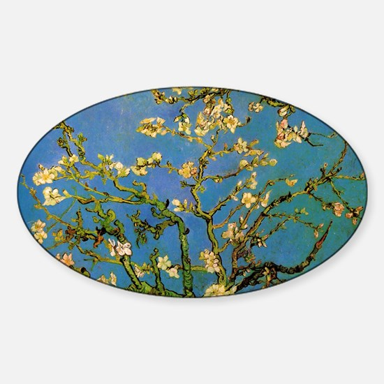 van gogh blossoming almond tree Sticker (Oval)