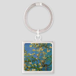 van gogh blossoming almond tree Square Keychain