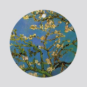 van gogh blossoming almond tree Round Ornament