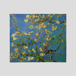 van gogh blossoming almond tree Throw Blanket