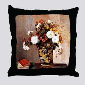 Chrysanthemums in a Chinese Vase - Ca Throw Pillow