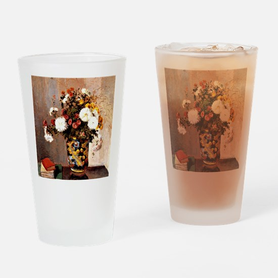 Chrysanthemums in a Chinese Vase -  Drinking Glass