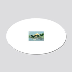 mount fuji hokusai 20x12 Oval Wall Decal