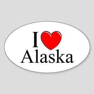 """I Love Alaska"" Oval Sticker"