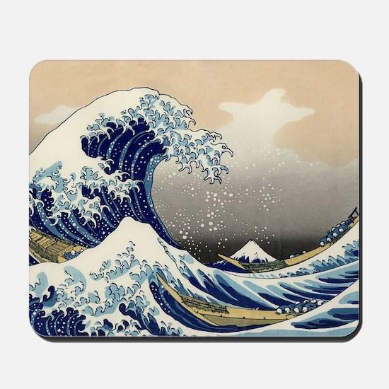 hokusai great wave Mousepad
