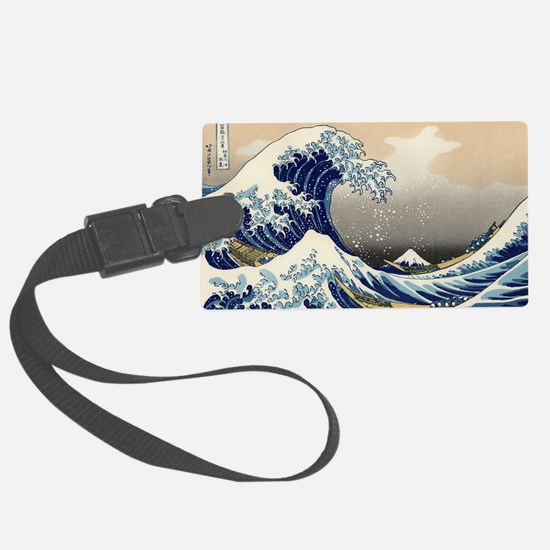 hokusai great wave Large Luggage Tag