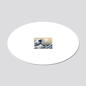 hokusai great wave 20x12 Oval Wall Decal