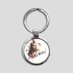 Jesus Birthday 3 Round Keychain