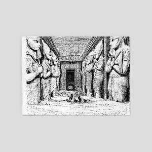 egypt great temple hall 5'x7'Area Rug