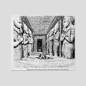 egypt great temple hall Throw Blanket