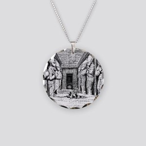 egypt great temple hall Necklace Circle Charm