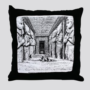egypt great temple hall Throw Pillow
