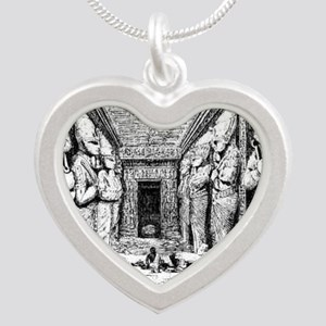 egypt great temple hall Silver Heart Necklace