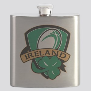 rugby ball ireland shield shamrock Flask