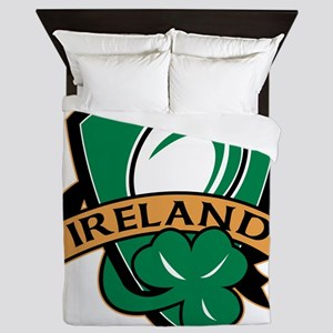 rugby ball ireland shield shamrock Queen Duvet