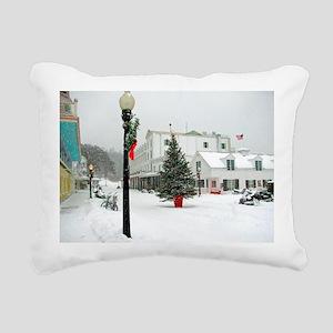 MackinacChristmasPoster3 Rectangular Canvas Pillow