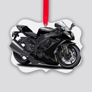 Ninja Black Bike Picture Ornament